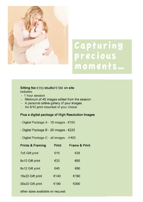 Gift Vouchers/Prices - Nora Doyle Photography